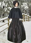 Ladies Victorian 3pc black velvet & faux silk gentry costume fancy dress.