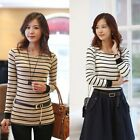 Women Casual Striped Side Split Long Sleeve Slim Fit Cotton T-shirt Shirt Top