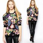 Women Hawaiian Flowers Floral Print Long Sleeve Pullover Sweatshirt T-shirt Top
