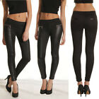 CHEAP Black Fashion PU Leather Lady Splicing Leggings Long Pants Thick Trousers
