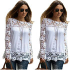 Fashion Women's Chiffon Wild Hollow Lace Long-sleeved Blouse Tops T-shirt White