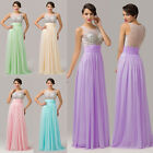 Celebrity STOCK Long Beaded Chiffon Evening Dresses Prom Party Wedding Ball Gown