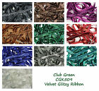 Velvet Glitzy Glitter Ribbon 10mm  Wide 10 Colours Club Green Collection CGK50