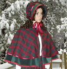 Ladies Victorian 2pc tartan cape & bonnet gentry costume  fancy dress. gr& burg