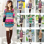❤XMAS SALE❤ Women Lady Crew Neck Long Sleeve T-Shirt Tee Tops Mini Dress Sweater