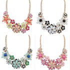 Womens Crystal Resin Flower Statement Bib Necklace Chunky Choker Collar Jewelry