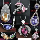 Swarovski element crystals pendant necklace chain 7 styles patterns os7-os13