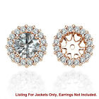 White SI2 Diamond Halo Solitaire Stud Bridal Earrings Jackets 14K Rose Gold