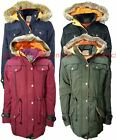 NEW KIDS GIRLS SCHOOL COAT FUR HOODED PADDED PARKA MILITARY JACKET AGE 7-13