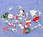 Silver Christmas Tree Clip On Charms Bead For Traditional Charm Bracelets enamel