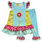 Kid Girls Striped Floral Top Shirt Dress Skirt Pants Leggings Outfit Set Clothes