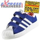 Adidas Originals Junior Childs Kids Superstar 2 Velcro Trainers Blue *AUTHENTIC*