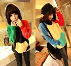 Fashion Girl's Hit Color Hoodie Breast Pocket Coat Jacket 2 Color W1458 FUS
