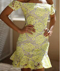 Womens Celebrity Lace Tunic Cocktail Party Evening OFF SHOULDER Midi Dress