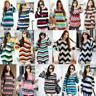 Women Striped Crewneck Long Sleeve Casual Loose Sweater Knitted Blouse Tops L XL