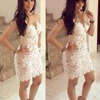 Womens Lace Floral Crochet Bodycon Cocktail Clubwear Party Mini Dress Skirts A67