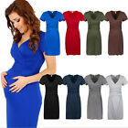 Women's V-neck Cap Sleeve Elasticity Maternity Dress Skirt Wrap Dress 9 color