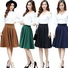 Women Retro High Waist Plain Pleated Wool Blend Evening Party Professionl Skirts