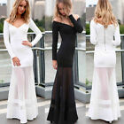 Valentine's Gift SEXY Women Long Sleeve V-Neck Formal Ball Long Dress Plus Size