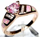 Rose Gold plated 925 Sterling Silver Pink Fire Opal and Pink Topaz ring Sz 6-9