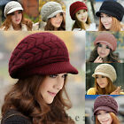 New Women Fashion Winter Warm Rabbit Fur Fabric Beanie Knit Crochet Hat Cap