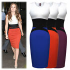 Womens Celeb Elegant Optical Illusion Colorblock Bodycon Party Pencil Dress