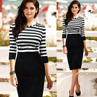 NEW Fashion Sexy Women Bodycon Stripe Splicing Evening Prom Cocktail Party Dress