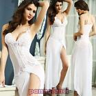 Babydoll chemise vestito lungo sexy lingerie pizzo spacco nuovo DL-1130