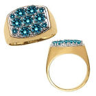 2.75 Carat Blue Diamond Fancy Cluster Mens Ring 14K White Yellow Two Tone Gold