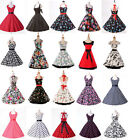 Multi-Color Womens Cotton Sexy 1950s Retro Floral Swing Evening Rockabilly Dress