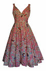 NEW RETRO VINTAGE 1940's 1950's MARILYN PALE PINK BIRD PRINT DRESS 10 - 28
