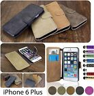 Leather Flip Wallet Case Cover For Apple iPhone 6 Plus + Screen Protector