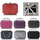 Ladies Designer Diamante Crystal Clutch Bag Women's Evening Prom Ball Party Wedd