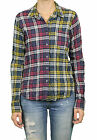 STEVEN ALAN Magenta Yellow Plaid Reverse Seam Button Down Shirt WST03CT NWT $158