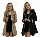 Ladies Fashion Trench Coat Mac Beige Black Button Up Tan Jacket 6 8 10 12 14 16