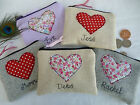 Handmade Personalised Heart Coin/Card Purse Choice fabrics & wording Valentines