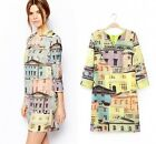2015 Fashion Women's 3/4 Sleeve digital building Slim Dress Party Gown dress