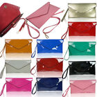 New Ladies Patent Faux Leather Style Envelope Evening Clutch Bag Wedding Purse