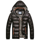 SMART Mens Zipper Padded Jacket Quilted Coat Hooded Outerwear Parka Overcoat NEW