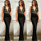 Sexy Womens Sleeve Long Splicing Evening PARTY BALL Prom Dresses Black Size XS~L