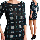 TheMogan Checked Knit Low Back Sweater Dress With Necklace