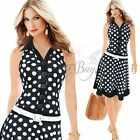 WOMENS CLOTHING SEXY V-NECK SLEEVELESS POLKA DOT COCKTAIL PARTY EVENING DRESS
