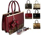 LADIES DESIGNER FAUX PATENT LEATHER LEOPARD TOTE BAG HANDBAG SHOULDER BAG