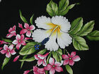 Hawaiian Print Cotton- Black with pink and white flowers - sample available