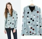 2015 Fashion Women Vintage Long Sleeve shirt Polka Dot Blouse Top cotton blouse
