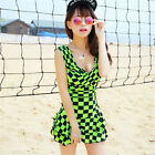 One Piece Checks Tummy Control Swimdress Tankini Swimsuit Swimming Costume Set
