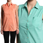 TheMogan Sleeveless Collared Button Up Pocket Cotton Blouse