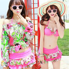 Women 4pc Pink Floral Beach Wear Swimsuit Set Bikini Swim Skirt Cover-up Shirt