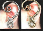 Excellent Gothic Punk Snake Wind Temptation Silver Ear Stud Cuff Earrings