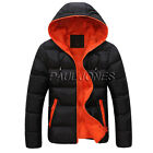 Mens Warm Zipper Collar Hooded Parka Winter Thickened Padded Coat Outwear Jacket